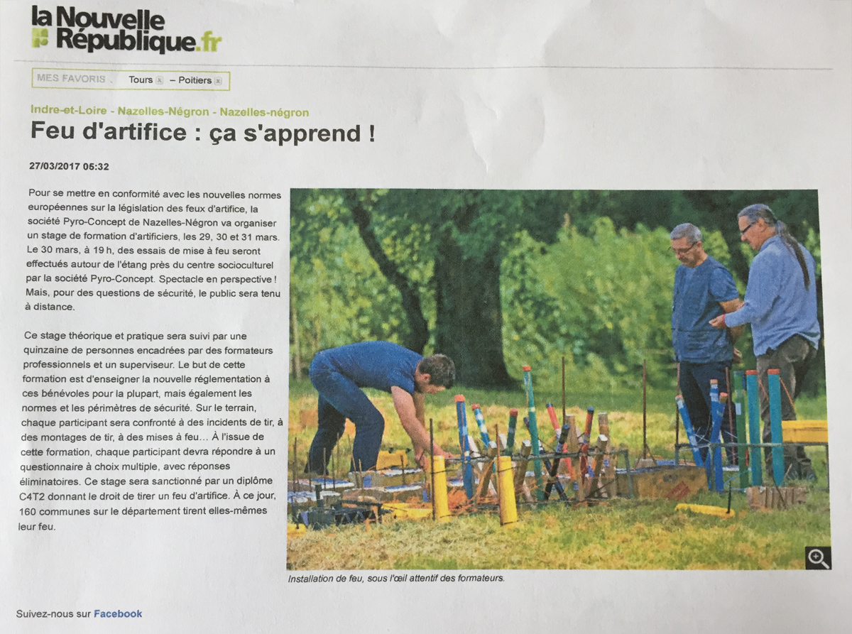 Article NR : Pyro Concept, centre de formation pour artificiers